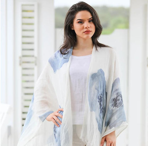 Linen Lightweight Blue Flower Shawl