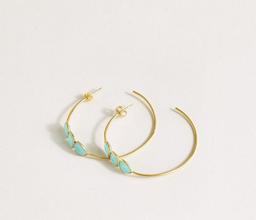 Amazonite Three Stone Earrings