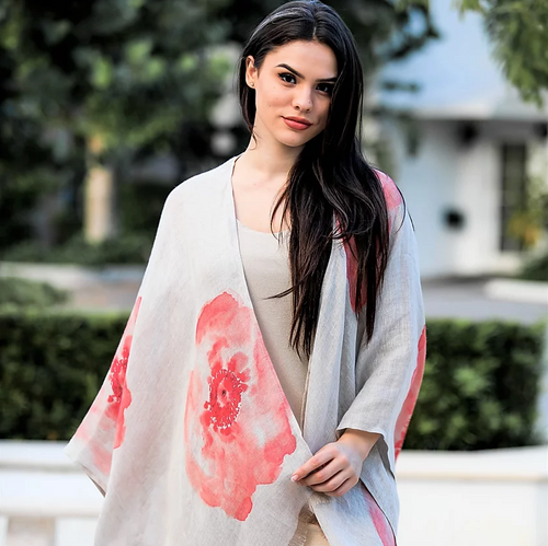 Linen Lightweight Coral Flower Shawl