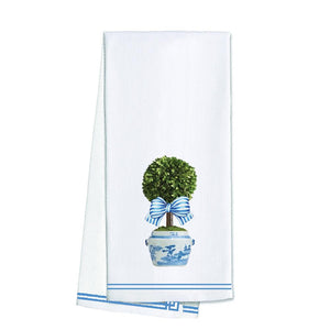 Cotton Tea Towel- Striped Topiary