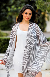 Linen Lightweight Charcoal Zebra Shawl