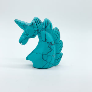 Blue Howlite Unicorn Carving
