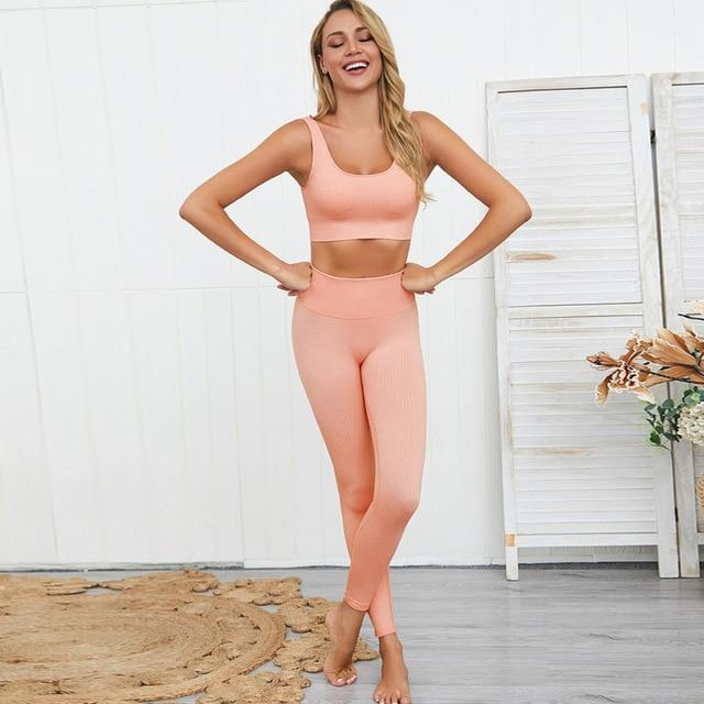 Gym accessories online set Pink set / L 2pc Women Set For Fitness and Yoga Workouts