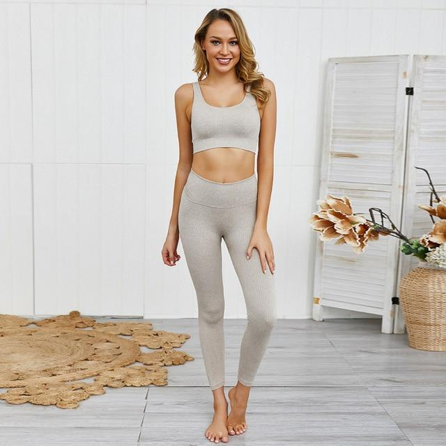 Gym accessories online set Khaki set / L 2pc Women Set For Fitness and Yoga Workouts