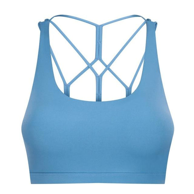 Gym Accessories Online Lake Blue / L Butter Soft Gym/Yoga Criscross bra