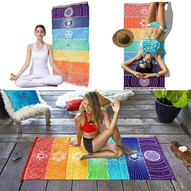Gym accessories online Gym equipment Chakra Rainbow Yoga Tapestry