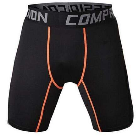 Gym Accessories Online shorts Black and Orange / S Compression Short Tights for Fitness & Jogging