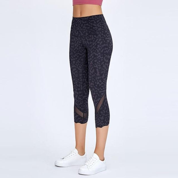 Gym Accessories Online Black Leopard / L High Waist Skinny Stretch Yoga Pants Capris