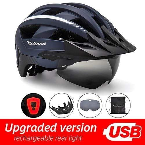 Gym accessories online helmet Navy USB LED LED Bicycle Helmet with USB Rechargeable Taillight