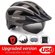 Gym accessories online helmet Ti USB LED LED Bicycle Helmet with USB Rechargeable Taillight