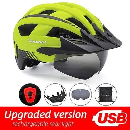 Gym accessories online helmet Yellow USB LED LED Bicycle Helmet with USB Rechargeable Taillight