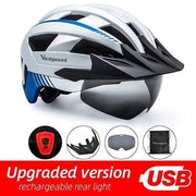 Gym accessories online helmet Silver USB LED LED Bicycle Helmet with USB Rechargeable Taillight