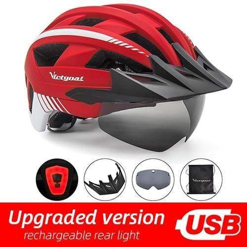 Gym accessories online helmet Red USB LED LED Bicycle Helmet with USB Rechargeable Taillight