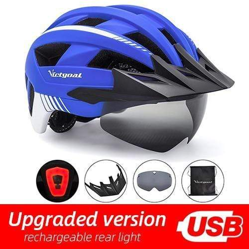 Gym accessories online helmet Blue USB LED LED Bicycle Helmet with USB Rechargeable Taillight