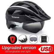 Gym accessories online helmet BlackWhite USB LED LED Bicycle Helmet with USB Rechargeable Taillight