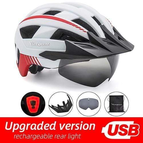 Gym accessories online helmet White USB LED LED Bicycle Helmet with USB Rechargeable Taillight