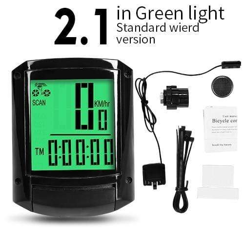 Gym accessories online Cycling 2.1 Green-Wired MTB Waterproof  Computer with Speedometer Wireless & Wired