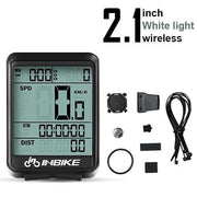 Gym accessories online Cycling White Light-Wireless MTB Waterproof  Computer with Speedometer Wireless & Wired
