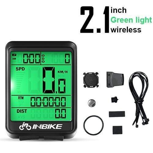 Gym accessories online Cycling Green Light-Wireless MTB Waterproof  Computer with Speedometer Wireless & Wired
