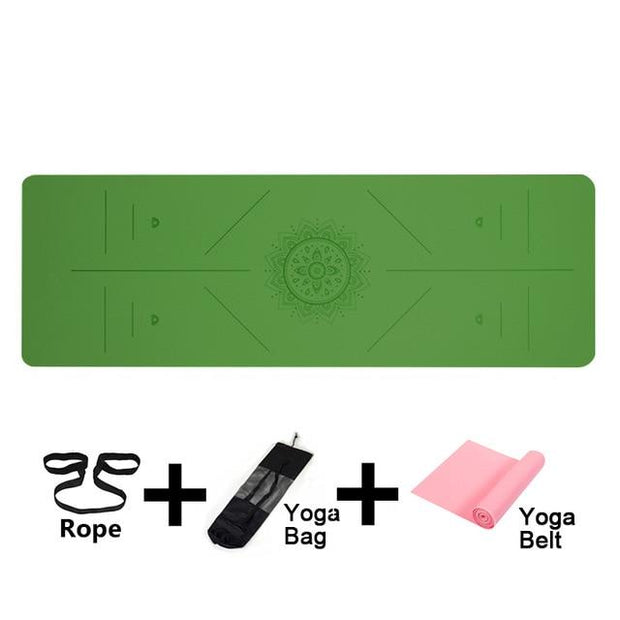 Gym Accessories Online Green-Posture line Position Line Non Slip Mat Yoga