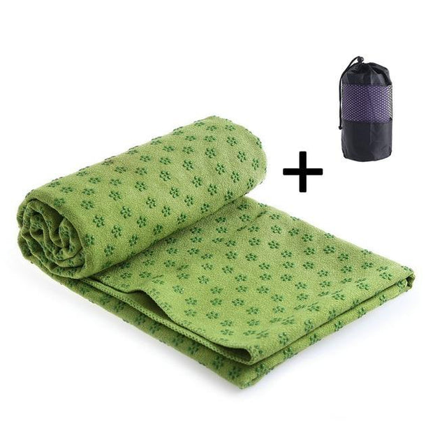 Gym Accessories Online Yoga towel-Green Position Line Non Slip Mat Yoga
