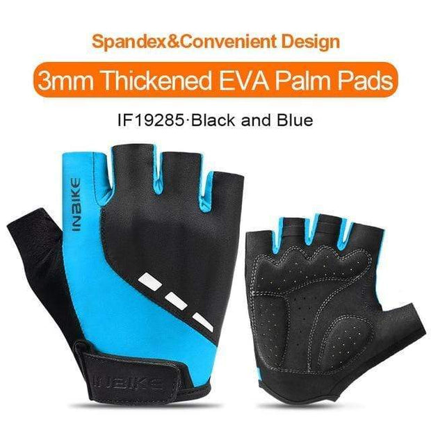 Gym accessories online gloves Black-Blue / L Shockproof GEL Pad Half Finger Cycling Gloves