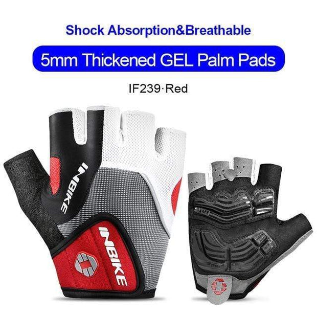 Gym accessories online gloves Red / L Shockproof GEL Pad Half Finger Cycling Gloves
