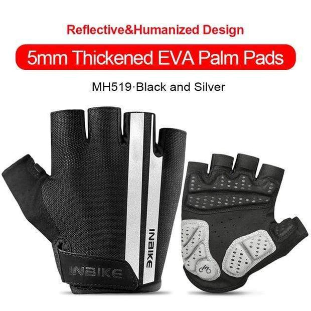 Gym accessories online gloves Black-Silver / L Shockproof GEL Pad Half Finger Cycling Gloves