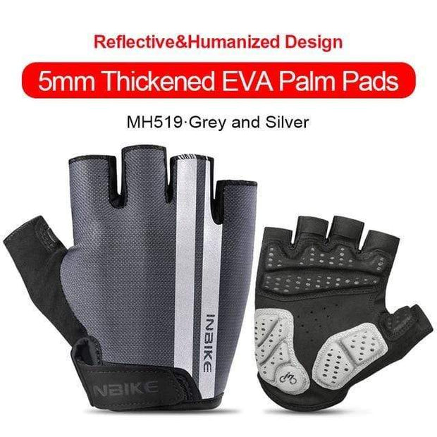 Gym accessories online gloves Grey-Silver / XXL Shockproof GEL Pad Half Finger Cycling Gloves