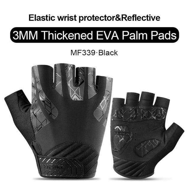 Gym accessories online gloves Black / L Shockproof GEL Pad Half Finger Cycling Gloves