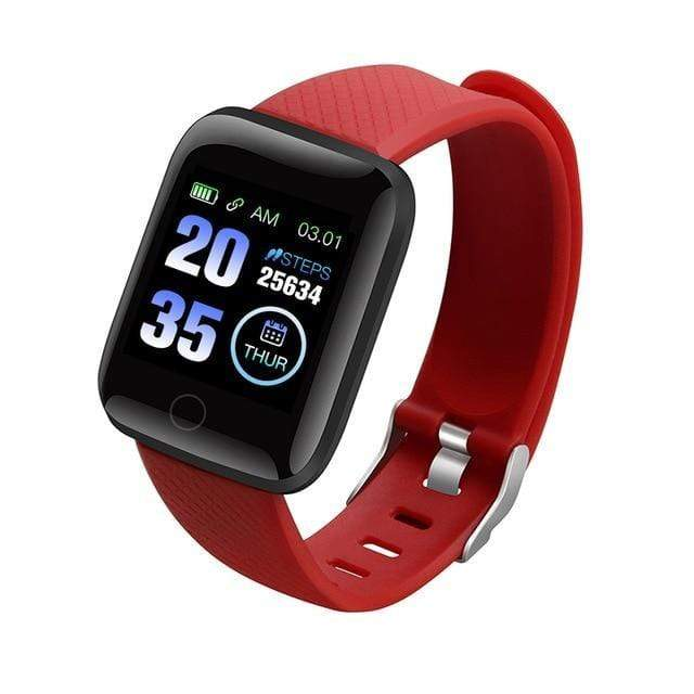 Gym accessories online smart watch Red Waterproof  Android Smart Watches with  Heart Rate Function