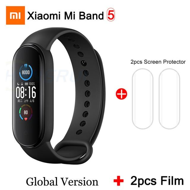 Gym Accessories Online Mi Band 5 GB 2Film Xiaomi Mi Band 5 Bluetooth Smart Wristband Color AMOLED Screen
