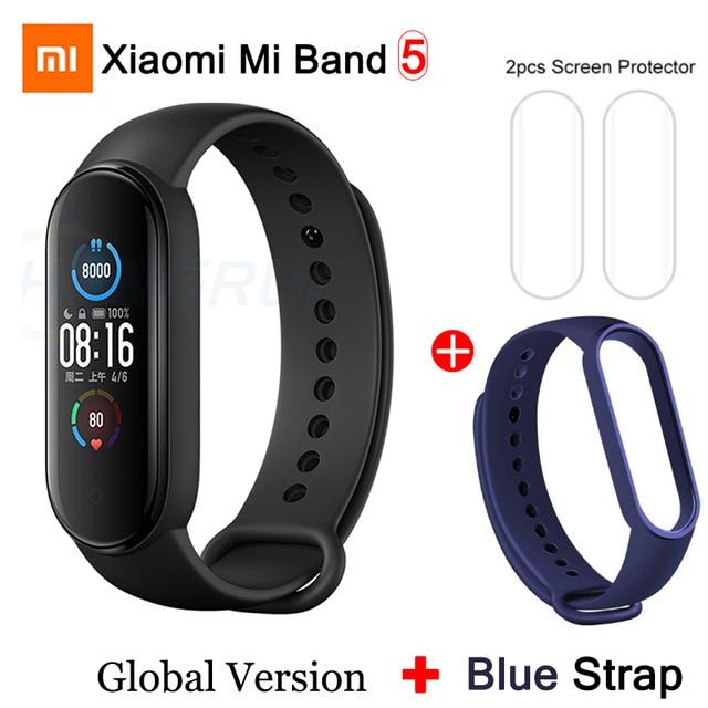 Gym Accessories Online Mi Band 5 GB add 4 Xiaomi Mi Band 5 Bluetooth Smart Wristband Color AMOLED Screen