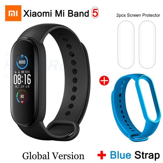 Gym Accessories Online Mi Band 5 GB add 8 Xiaomi Mi Band 5 Bluetooth Smart Wristband Color AMOLED Screen