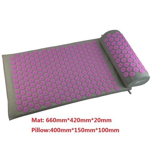 Gym Accessories Online Purple 02 Yoga Mat with Massage Functionand a Pillow
