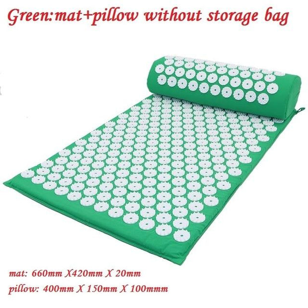 Gym Accessories Online Green02 without bag Yoga Mat with Massage Functionand a Pillow