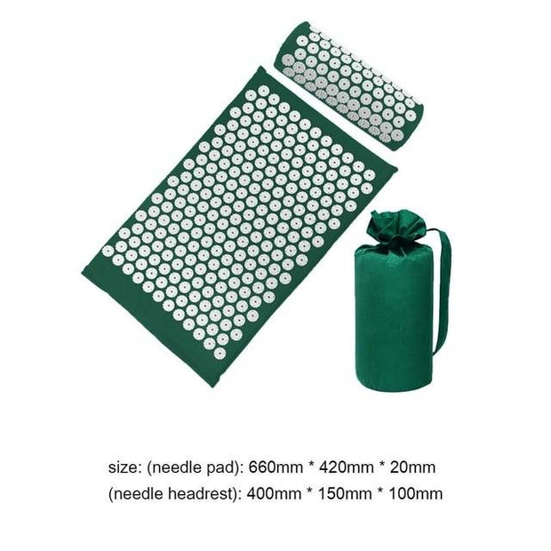 Gym Accessories Online green01 with bag Yoga Mat with Massage Functionand a Pillow