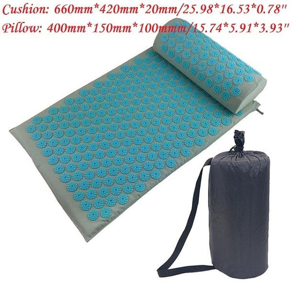 Gym Accessories Online Light Blue with bag Yoga Mat with Massage Functionand a Pillow