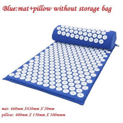 Gym Accessories Online Blue02 without bag Yoga Mat with Massage Functionand a Pillow
