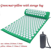 Gym Accessories Online Green02 with bag Yoga Mat with Massage Functionand a Pillow
