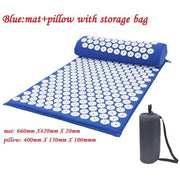 Gym Accessories Online Blue with Bag Yoga Mat with Massage Functionand a Pillow