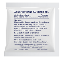 Load image into Gallery viewer, AQUAFIRE FDA Registered Hand Sanitizer Single Use Gel Packets, 0.06oz Each Packet - Dispenser Box of 200