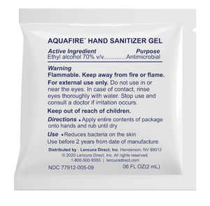 AQUAFIRE FDA Registered Hand Sanitizer Single Use Gel Packets, 0.06oz Each Packet - Dispenser Box of 200