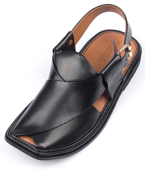 Black Traditional Peshawari Chappal
