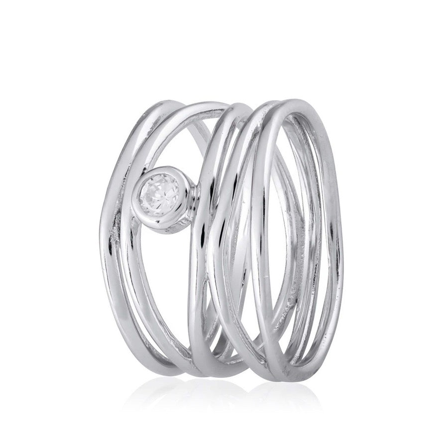 Lines Cubic Zirconia Stirling Silver Rhodium Plated Ring