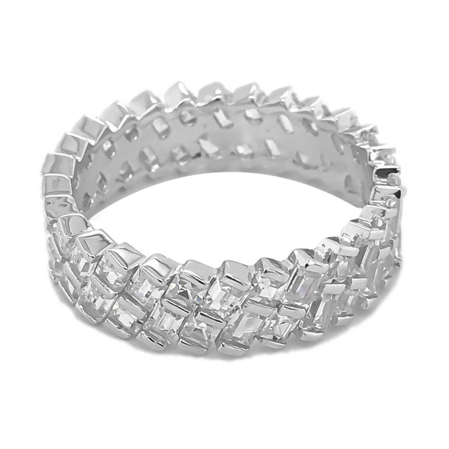 Abstract cubic zirconia sterling silver rhodium plated wide ring