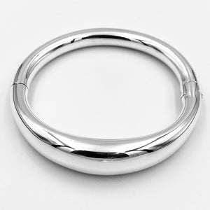 Bold rounded sterling silver hinged bangle