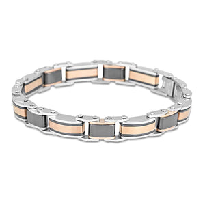 Ceramic and stainless steel two tone bracelet 7mm 20cm ajustible length