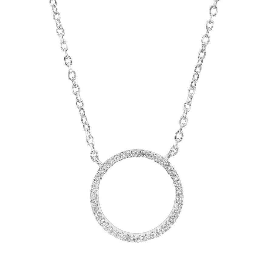 Circle of life cubic zirconia sterling silver rhodium plated adjustable chain