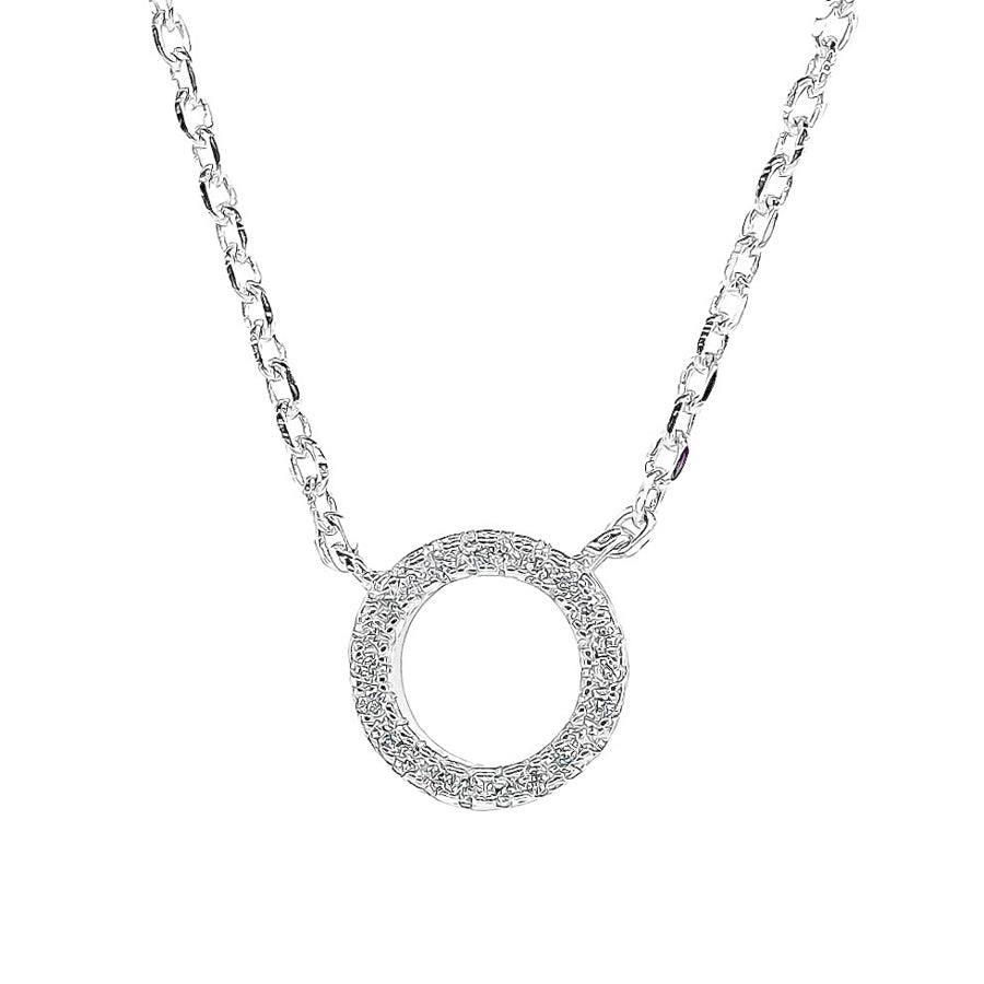 Circle of life petite cubic zirconia sterling silver rhodium plated adjustable chain